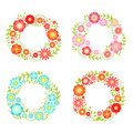 Floral frames in circle shapes with place for your text. Vector vintage collection Royalty Free Stock Photo