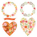 Floral frames and heart with flowers set of Stock Photography