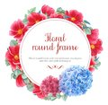 Floral frames with red anemones, pink and blue hydrangea and branches of eucalyptus, watercolor painting Royalty Free Stock Photo