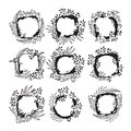 Floral frames for text. Hand drawing Royalty Free Stock Photo