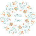 Floral garland. Flower border frame in pastel colors Royalty Free Stock Photo