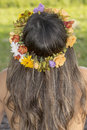 Floral garland a woman with beautiful long hair wearing a spring flowers Royalty Free Stock Images