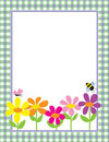Floral Gingham Background Stock Photo