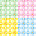 Floral gingham seamless patterns Royalty Free Stock Photo