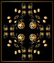 Floral gold and blackl card, ornament Stock Photos