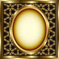 Floral Gold Frame With Patterned Background Stock Photography