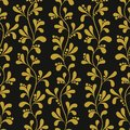 Floral gold seamless pattern with branches and leaves.