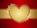 Floral golden love heart