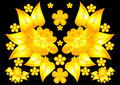 Floral golden ornament illustration of abstract flowers on black background Stock Photography