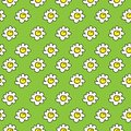Floral green meadow seamless chamomile drawing. vector illustration. White daisies seamless pattern on a bright background.
