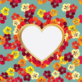 Floral Greeting Card. Flower frame with love heart Royalty Free Stock Photo