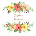 Floral greeting card, invitation, banner. Frame for your text wi
