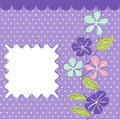 Floral greeting card on the purple background Stock Image