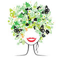 Floral hairstyle, woman Royalty Free Stock Photography
