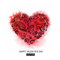 Floral heart made of flowers. Valentines day card. Vector illustration. Abstract Background with Watercolor Stains, Royalty Free Stock Photo