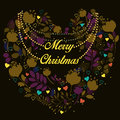Floral heart. Merry Christmas greeting card