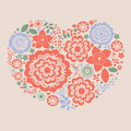 Floral heart  print Royalty Free Stock Photos