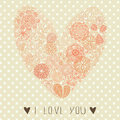 Floral heart shape card for valentine day Stock Photography