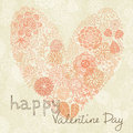 Floral heart shape card for valentine s day Stock Photo
