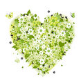 Floral heart shape, summer green Stock Images