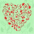 Floral heart shaped pattern Royalty Free Stock Images