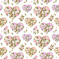 Floral hearts, apple and sakura flowers - cherry blossom . Seamless pattern for Valentine day. Vintage watercolor Royalty Free Stock Photo