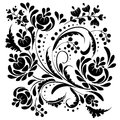 Floral herb berries black pattern and white vignette with curls on a white background Royalty Free Stock Photos