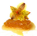 Floral honey in   in honeycomb and flowers Royalty Free Stock Photo