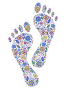 Floral human footprints illustration of on white background Royalty Free Stock Images