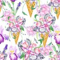 Floral Ice Cream Watercolor Pattern