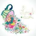 Floral illustration with cup and flowers text Stock Photo