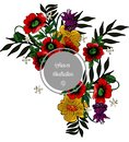 Floral illustration with poppies around gray frame vector image