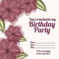 Floral invitation birthday over white background vector illustration Stock Images