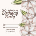 Floral invitation birthday over white background vector illustration Stock Photography