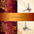 Floral invitation card elegant classic wedding or valentine Stock Image