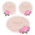 Floral lace frames with pink roses vector Royalty Free Stock Images