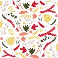 Floral leaves colorful seamless pattern in hand drawn style.