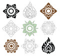 Floral and leaves of thai pattern beautiful on white background vector set Stock Photos