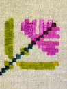 Floral linen fabric, needlework Stock Photos