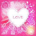 Floral Love Heart background. Vector illustration, can be used a Royalty Free Stock Photo