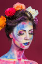 Floral makeup the creative bright color art beautifully painted lips and eyes tone powder make up multi colored Stock Images