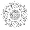 Floral mandala isolated on white background. Gorgeous handdrawn decorative design element. Vector