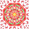 Floral mandala with red butterflies Royalty Free Stock Images