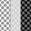 Floral monochrome seamless patterns. Backgrounds with fower elements for wallpapers