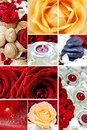 Floral mosaic red and white roses rocks rose petals and candles composition beautiful great for wall prints Stock Photo