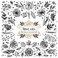 Floral notes botanical collection. Flowers, branches, and leaves