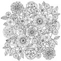 Floral ornament art of mandala style zentangle black and white background could be use for coloring book in Stock Images