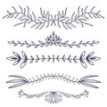 Floral ornament dividers. Hand drawn decoration. Rustic ornamental leaves . Flourish decorative dividers