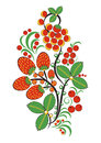 Floral ornament in Hohloma style. Russian folklore