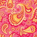 Floral ornament raster version of vector pink and yellow decorative seamless pattern background with abstract there is in addition Stock Photo